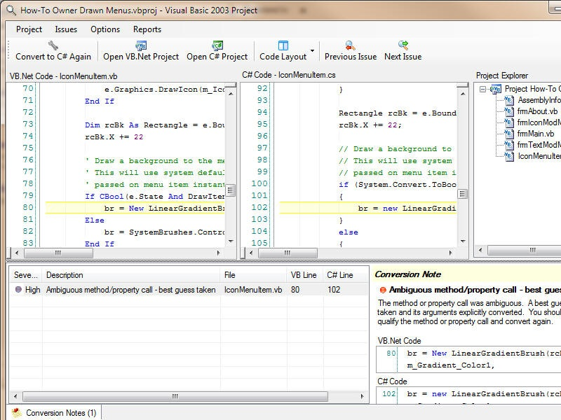 Click to view VB.Net to C# Converter 5.06 screenshot